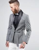 Asos Skinny Smoking Jacket In Gray