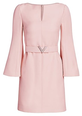 Valentino Wool & Silk Crepe Trumpet-Sleeve Dress