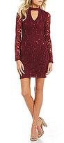I.N. San Francisco Choker Neck Sequin Lace Sheath Dress