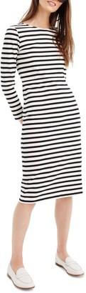 J.Crew Stripe Long Sleeve Cotton Dress (Regular & Petite)