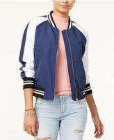 Hippie Rose Juniors' Cropped Varsity Bomber Jacket