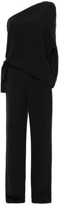 Halston One-shoulder Draped Crepe Jumpsuit