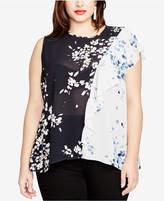 Rachel Roy Trendy Plus Size Sheer Colorblocked Blouse