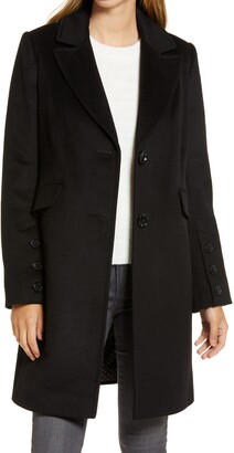 Notched Collar Wool Blend Coat