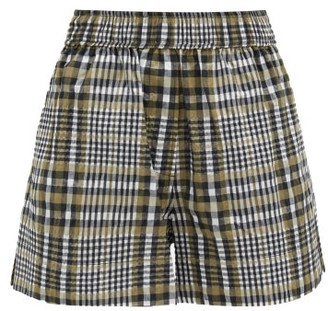 Ganni Checked Cotton-blend Seersucker Shorts - Grey Multi