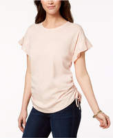 Style&Co. Style & Co Cotton Pleated Ruched T-Shirt, Created for Macy's