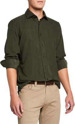 Neiman Marcus Men's Corduroy Sport Shirt, Olive