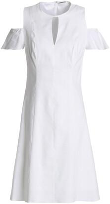 Elie Tahari Raylan Cold-shoulder Cutout Linen-blend Mini Dress