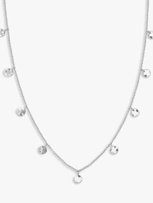 ROSEFIELD Textured Coin Chain Necklace, Silver