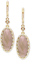 lonna & lilly Gold-Tone Stone and Crystal Oval Drop Earrings