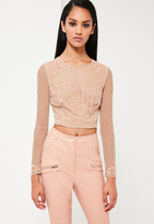 Missguided Nude Embellished Crop Top