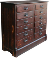 Rejuvenation Beautiful Oak 12-Drawer Cabinet c1875