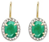 1.50 Carat TW Oval-cut Emerald and Diamond Accent Leverback Earrings Gold Plated (IJ-I2-I3) (May)