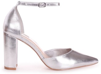 Linzi MARLIE - Silver Metallic Court Shoe With Ankle Strap Block Heel