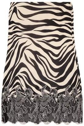 Chloé Embroidered Mesh-trimmed Zebra-print Satin-jersey Midi Skirt