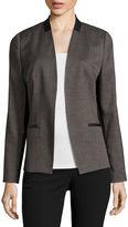 WORTHINGTON Worthington Faux Leather Trim Suit Blazer