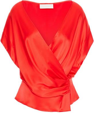 Mason by Michelle Mason Wrap-effect Draped Silk-charmeuse Top