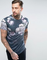 SikSilk T-Shirt In Floral Print With Curved Hem