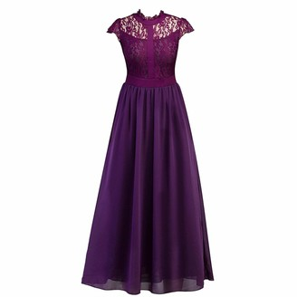 Kaerm Womens Retro Floral Lace Evening Party Maxi Dress Short Sleeve Cutout Back Wedding Formal Evening Gown Burgundy M