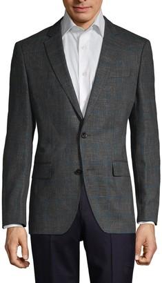 HUGO BOSS Regular-Fit Stretch Virgin Wool-Blend Checker Jacket
