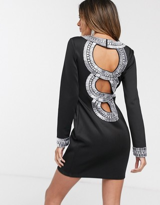 ASOS DESIGN long sleeve mini dress with diamante back detail