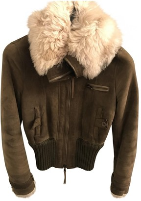 Patrizia Pepe Khaki Leather Leather Jacket for Women