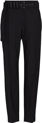 Brunello Cucinelli Tropical Wool Pant With Monili Striped Grommet Belt