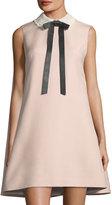 Valentino Tie-Neck Lace-Collar Shift Dress