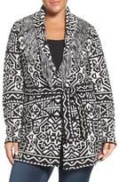 Foxcroft Plus Size Women's Belted Fringe Shawl Collar Cardigan