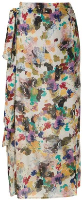 Andrea Marques printed tie waist skirt