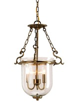 The Well Appointed House Petit Hanging Bell Jar Lantern Lighting Fixture in Antique Brass