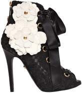 Fausto Puglisi 110mm Lace & Leather Lace-Up Ankle Boots