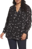 Sejour Plus Size Women's Split Neck Ruffle Sleeve Tunic