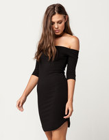 Say What Ribbed Off The Shoulder Bodycon Dress