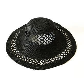 Maraina London Christie Large Raffia Sun Hat Black