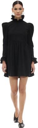 Batsheva Ruffled Cotton Poplin Mini Dress