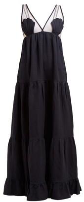 Adriana Degreas Marine Tulle-panel Linen-blend Maxi Dress - Womens - Navy