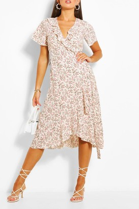 boohoo Ditsy Floral Print Ruffle Wrap Midi Tea Dress