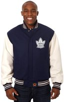 JH Design Toronto Maple Leafs Jacket - Hand Crafted Wool & Leather Varsity w/Leather Logos