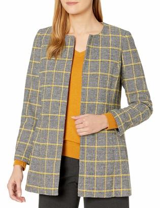 Kasper Women's Plus Size Jewel Neck Plaid Jacket