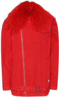 MSGM Fur-trimmed denim jacket