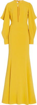 Oscar de la Renta Cascade Long Sleeve Silk-Blend Gown