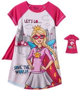Girls 4-10 Barbie Superhero & Doll Nightgown