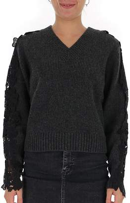 See by Chloe Lace Detail Cropped Sweater