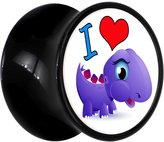 Body Candy Black Acrylic I Heart Purple Dinosaur Saddle Plug Pair 13mm