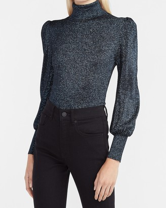 Express Metallic Balloon Sleeve Mock Neck Sweater
