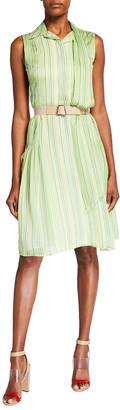 Akris Striped Sleeveless Silk Chiffon Dress