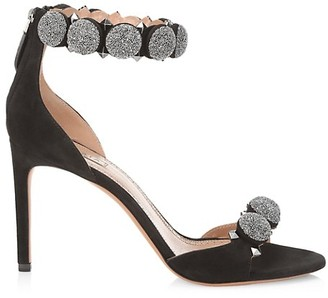 Alaia Bombe Glitter Ankle-Strap Suede Sandals