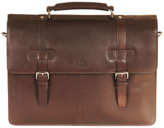 Mancini Double Compartment Leather Briefcase