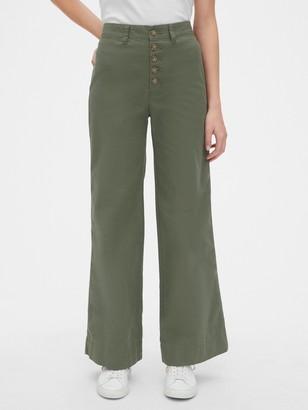Gap High Rise Button-Fly Wide-Leg Chino Pants